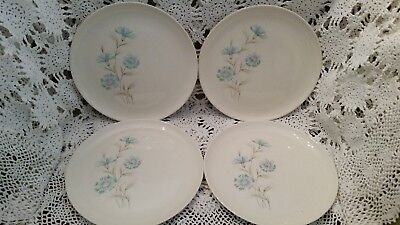 """Taylor Smith &Taylor Boutonniere Ever Yours Dinner Plate 10-1/4"""" Blue/pink/white"""