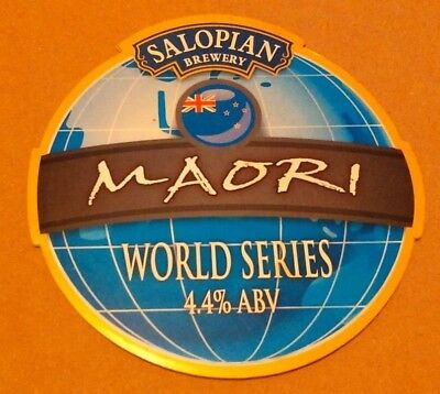 Beer pump clip badge front SALOPIAN brewery MAORI real cask ale Shropshire