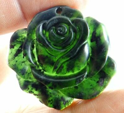 Natural 100%China black green jade carved flower Pendant necklace Making jewelry