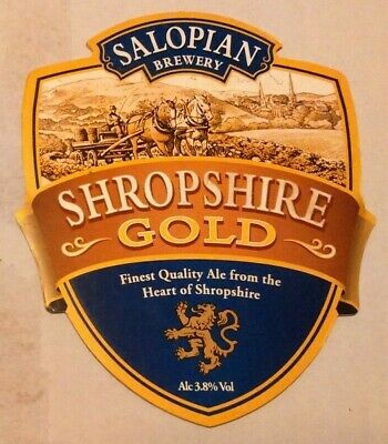 Beer pump clip badge front SALOPIAN brewery SHROPSHIRE GOLD cask ale
