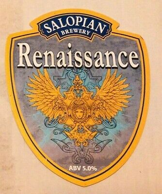Beer pump clip badge front SALOPIAN brewery RENAISSANCE real cask ale