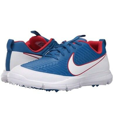 new product 8d57f 9f80d Nike Explorer 2 Spikeless Men s Size 9.5 Golf Shoes Blue White Red 849957- 401