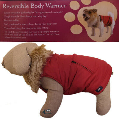 "Rosewood Dog Warm Soft Body Warmer Reversible Faux Fur Collar Large 18""-20"""