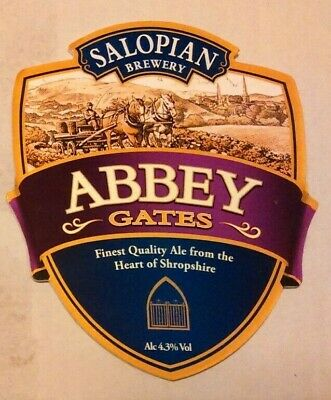 Beer pump clip badge front SALOPIAN brewery ABBEY GATES cask ale