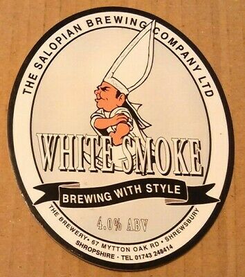 Beer pump clip badge front SALOPIAN brewery WHITE SMOKE cask ale