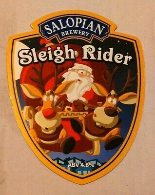 Beer pump clip badge front SALOPIAN brewery SLEIGH RIDER cask ale shropshire