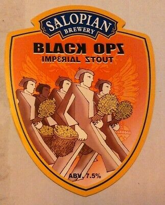 Beer pump clip badge front SALOPIAN brewery BLACK OPS cask ale shropshire