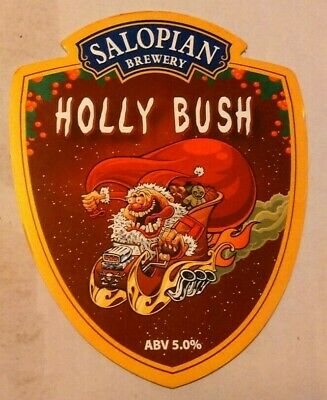 Beer pump clip badge front SALOPIAN brewery HOLLY BUSH cask ale shropshire