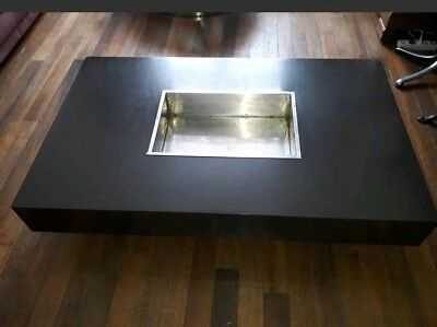 Table Basse années 70 design WILLY RIZZO coffee table Mario Sabot MARRON/ BROWN