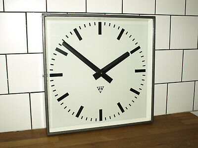 XL battery operated Pragotron wall clock - metal square - industrial vintage