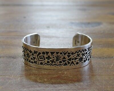 Sterling Silver Overlay Pictograph Cuff Bracelet