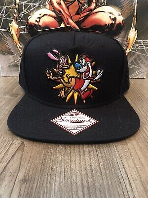 premium selection d5001 81314 Ren and Stimpy Black Adjustable Snapback Bioworld Hat Cap Nickelodeon NWT