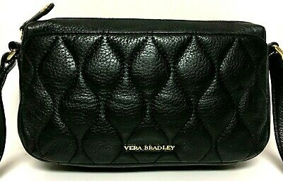 a6995e8e393c Vera Bradley SYDNEY BLACK LEATHER Crossbody Small Purse Quilted Sycamore