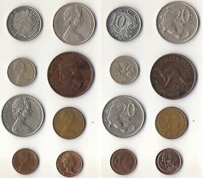 AUSTRALIA, lote de 8 monedas diferentes. Lot of old coins.