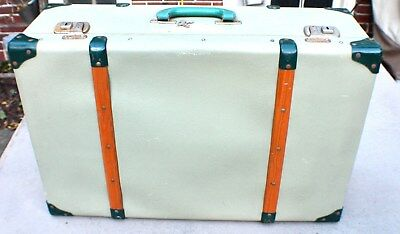 Vintage Cheney England Suitcase with Wood Runners c. 1940's/50's with Keys