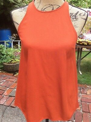 b6c1d6ff69eb60 TOPSHOP WOMEN S OPEN Back Sleeveless Blouse Sz 2 Orange High Neck ...