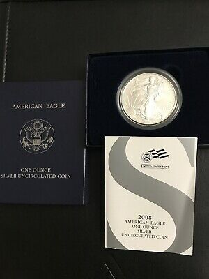 2008-W Burnished American Silver Eagle Coin 1 TROY OZ with OGP Box, COA BU