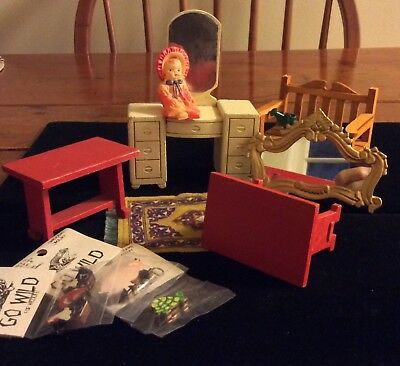 Large Lot Of Vintage Dollhouse Furniture Accessories 70 Items