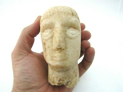 Primitive Romanesque Stone Marble Head Sculpture Carving Old Antique Vtg