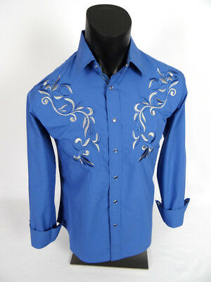 Mens Snap-Up Western Style Shirt Blue with Front and Back Floral Embroidery