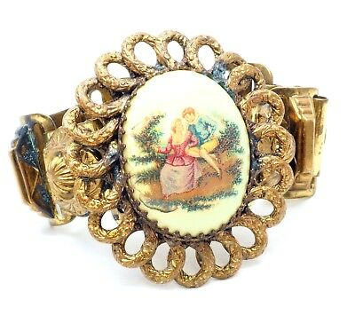 Karu Brass Cuff Fashion Bracelet Gold Tone Victorian Revival Old 40's Vintage