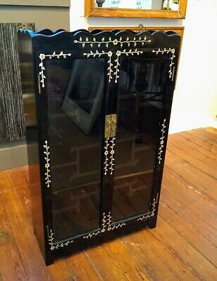 Old or Antique Asian Chinese Ebonized Hardwood Curio Cabinet