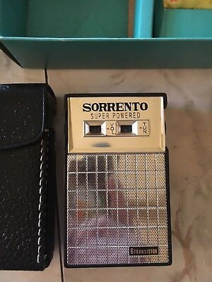 Vintage SORRENTO 6 TRANSISTOR RADIO ORIGINAL BOX VERY NICE! Case / Headphones
