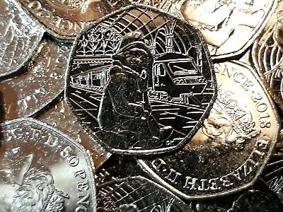 2018 PADDINGTON AT THE STATION. 50p Fifty Pence. FROM SEALED BAG.