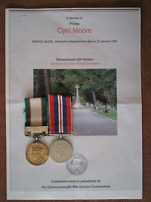India General Service Medal & War Medal to MOORE, Hampshire Regiment Casualty