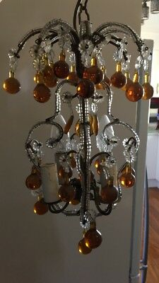 Vintage Petite Crystal Macaroni Beaded Chandelier With Amber Murano Glass Drops