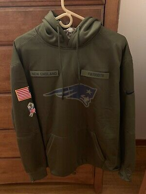 New Men s England Patriots Olive Salute to Service Sideline Therma Hoodie  2018 852943317