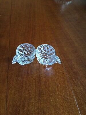 COLLECTABLE PR OF CRYSTAL EGG CUPS w BIRD HEAD HANDLES