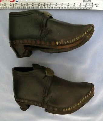 ***Good Genuine Pair Antique Victorian Child's Leather Clogs Shoes