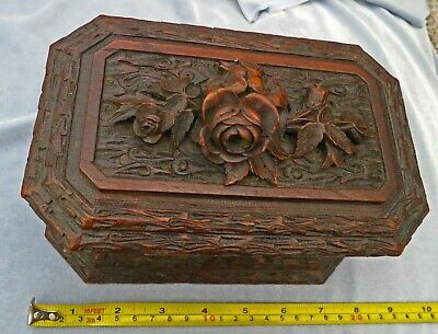 ***BEAUTIFUL Carved  Victorian c1890  Antique Wood Jewellery Trinket Box