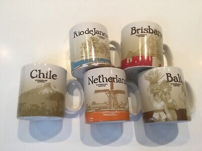 5 Starbucks city/country collector mugs. Netherlands, Chile, Bali, Brisbane, Rio