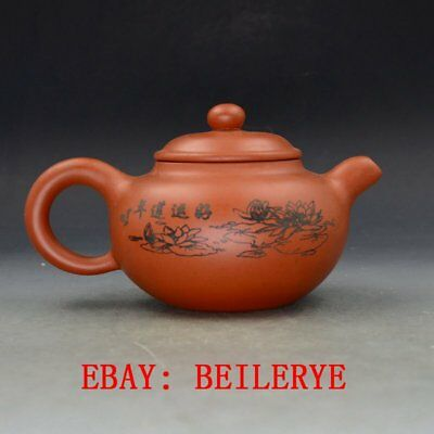 Chinese Yixing Zisha Hand Carved Painting Lotus Teapot Made By Zhou Zhichen BY40