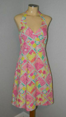 6d1e9f476dab LILLY PULITZER DIAMOND Head Patch Work Halter Dress Size 10 -  34.99 ...