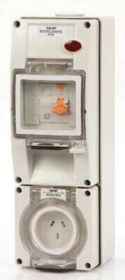 Iso SOCKET WITH RCD 500V 4-Pin Round, Surface Mount, Grey- 10A Or 20A