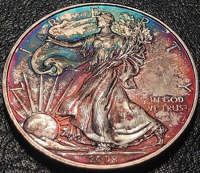 2008 NICELY TONED American Silver Eagle Toning ASE 1 Oz. Ounce .999 Dollar UNC