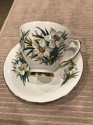 Sutherland HM Bone China England White Flowers Cup & Saucer