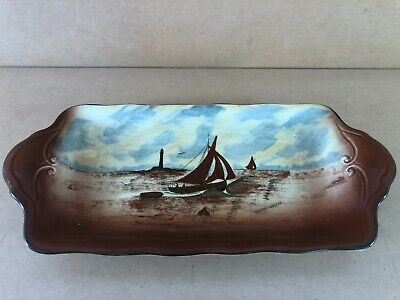 Vintage Sandwich Tray Empire Ware, England, Stormy Waters, Yatchs, Brown 1925-39