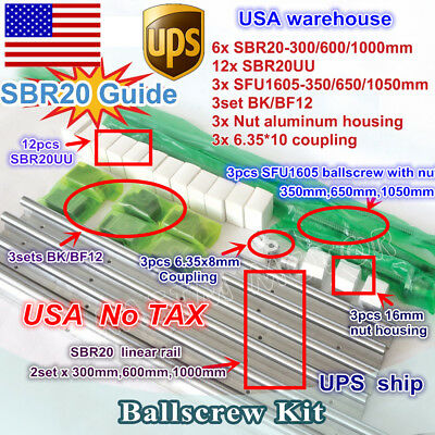 【USA】 SBR20 Linear Guide Rail+Ballscrew SFU1605-350/650/1050mm+BK/BF 12+Couplers