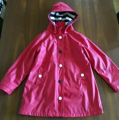 HATLEY UK Girls Cherry Red Navy White Stripe Hooded Raincoat Anorak Jacket 8
