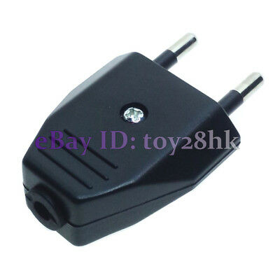 (2 PCS) EU Type C DIY Rewireable Power Plug ø4mm Pin 220V 2.5A Black