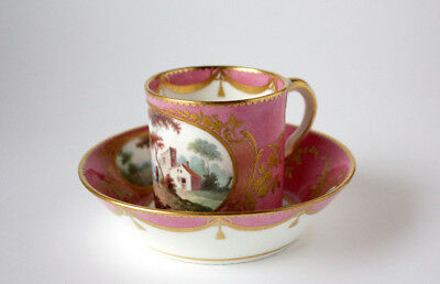 Antique Sèvres Pink Porcelain Cup & Saucer with scenery