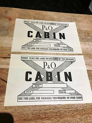 P & O-Vintage CABIN PACKAGE LABELS-Package Cabin Stickers x 2-Mint-1940's