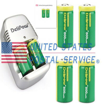 6 Pack of CR2 3V Laser Pointer 800mAh Batteries with 2pcs Charegers For Remotes
