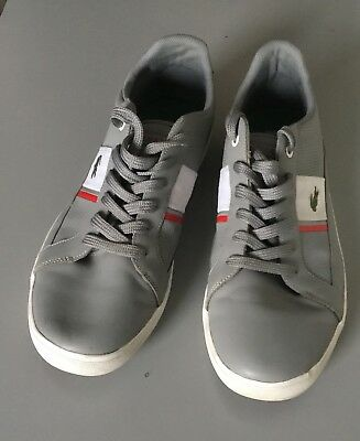 08b43d8b3826a9 Lacoste Sport Ortholite Mens Gray White Leather Athletic Shoes Sneakers Sz  14
