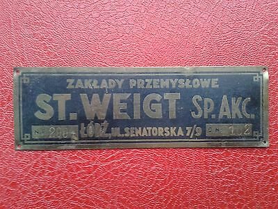 Old ST.WEIGT sp.akc the brass nameplate.