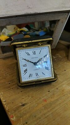 Vintage ESTYMA 2 Jewel Brass ,Leatherette Cased Travel/Alarm Clock,fully working